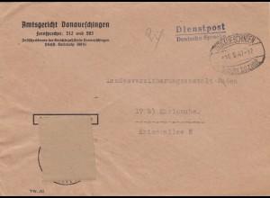 Brief 1947 Amtsgericht Donaueschingen, Gebühr bezahlt, nach Karlsruhe