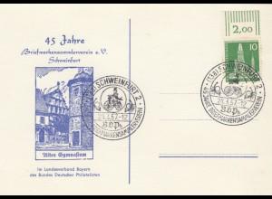 Postkarte Schweinfurt mit Sondestempel, altes Gymnasium 1957