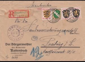 Einschreiben Lenzkirch, Gemeinde Raitenbuch 1946 nach Freiburg