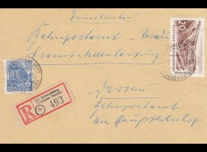 Einschreiben Bad Schmiedeberg, Dübener Heide 1957 nach Dessau