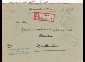 Einschreiben Naila, Gebühr bezahlt 1946 nach Karlsruhe