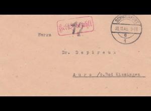 Brief 1945, Schweinfurt, Gebühr bezahlt nach Aura/Bad Kissingen