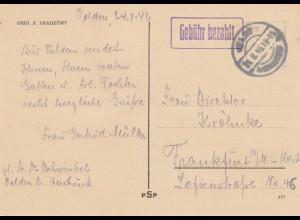 Postkarte Velden 1946, Gebühr bezahlt nach Frankfurt / M