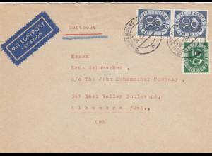 Luftpost 1954 von Hamburg nach Alhambra/Cal. USA