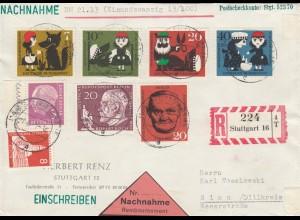 Einschreiben Nachnahme Stuttgart 1960 mit Heuss Lumogen