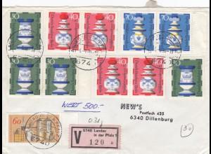 Wertbrief Landau/Pfalz 1980 nach Dillenburg