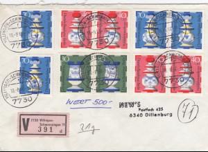 Wertbrief Villingen Schwenningen 1980 nach Dillenburg