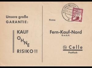 Postkarte Neunkirchen 1953 nach Celle