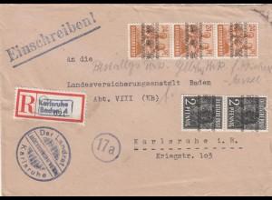Einschreiben Landrat Karlsruhe 1948 nach Karlsruhe