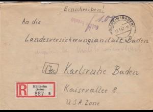 Einschreiben 1947 Müllheim/Baden nach Karlsruhe, Gebühr bezahlt