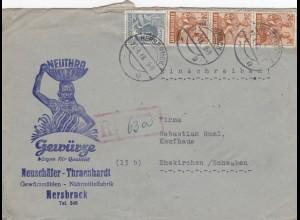 Einschreiben 1948 Hersbruck, Nährmittel nach Ehekirchen