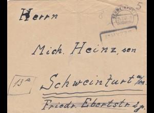 Brief 1946 Schweinfurt, Gebühr bezahlt