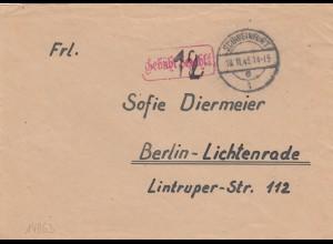 Brief 1945 Schweinfurt, Gebühr bezahlt nach Berlin-Lichtenrade