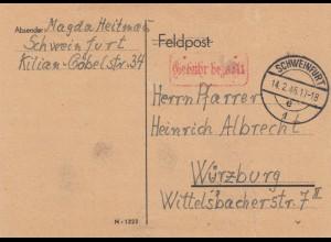 Brief von Schweinfurt 1946, Gebühr bezahlt nach Würzburg