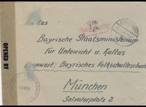 Brief von Schweinfurt 1946, Gebühr bezahlt nach München