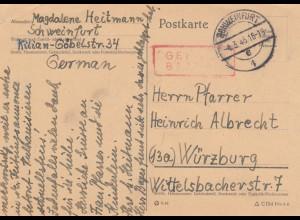 Brief von Schweinfurt 1946, Gebühr bezahlt an Pfarrer in Würzburg