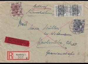 Einschreiben-Eilbote 1949 von Hamburg nach Karlsruhe