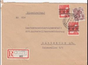 Einschreiben 1948 Baden-Baden nach Karlsruhe