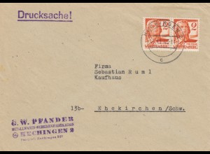 Brief 1948 Hechingen nach Ehekirchen als Drucksache