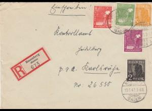 Einschreiben Rosenberg 1948 nach Karlsruhe