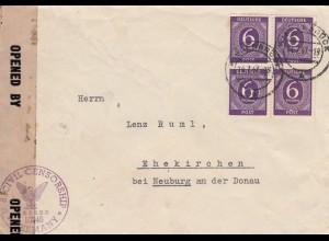 Brief von 1947 aus Wiedenbrück/Westfalen nach Ehekirchen, Zensur