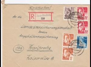 Einschreiben Baden-Baden 1948 nach Karlsruhe