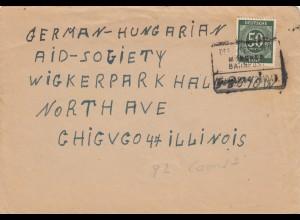 Brief 1947 aus dem RAD Lager Werneck/Schweinfurt nach Chicago/USA, Bahnpost