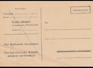 Postkarte 1946, Formularversand Gebührenfrei von Unna, Bug