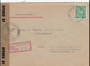 Einschreiben München 1947 nach Stuttgart mit Zensur