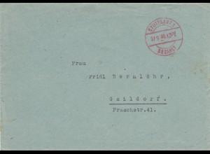 Brief Stuttgart 1946 nach Gaildorf, Gebühr bezahlt