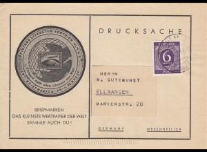 Drucksache Verkaufsliste Briefmarken aus Ulm nach Ellwangen