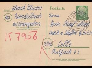 Ganzsache Weingarten 1957, Festspiele, Reiter nach Celle