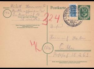 Ganzsache Recklinghausen 1954 nach Celle