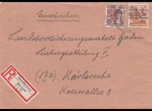 Einschreiben Distelhausen über Lauda nach Karlsruhe