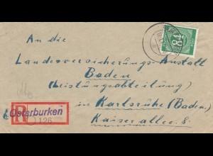 Einschreiben Osterburken 1947 nach Karlsruhe