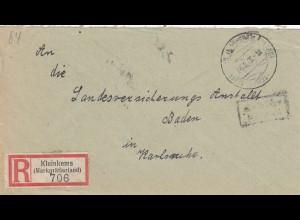 Einschreiben Kleinkrems/Markgräflerland 1946 nach Karlsruhe, Gebühr bezahlt