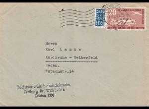 Brief aus Freiburg 1949 nach Karlsruhe