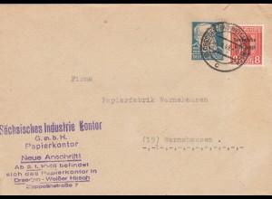SBZ 1949: Brief aus Dresden, Papierkonto nach Wernshausen