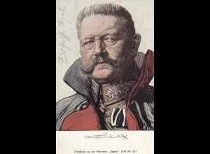 Ansichtskarte Hindenburg: Feldpost Stuttgart 1915 nach Düsseldorf