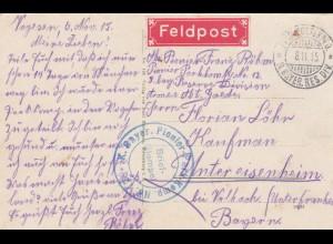4x Feldpost Ansichtkarten Frankreich, Poionier; nach Untereisenheim