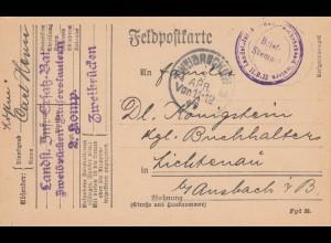 1917: Feldpostkarte Zweibrücken nach Lichtenau