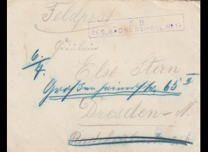 FP Brief Beskidenkorps Kulikow, Reserve Bäckerei nach Dresden mit Briefinhalt
