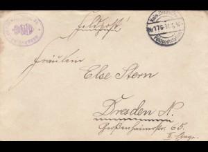 FP 1916, Reserve Bäckerei Kolonne Delica/Serbia nach Dresden mit Briefinhalt