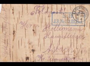 Feldpost Karte aus Baumrinde - Birke; S.B. J.R.Nr. 32 nach Asbach
