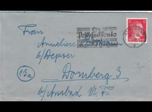 Parow über Stralsund 1944 nach Dornsberg /Ansbach mit Briefinhalt