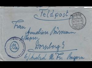 Feldpost Parow über Stralsund 1944 nach Dornsberg /Ansbach mit Briefinhalt