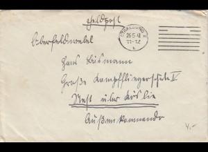 Feldpost Stralsund 1941 an Kampffliegerschule Köslin mit Briefinhalt