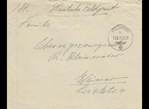 Feldpost 22.09.1939, FPNr. 10419 nach Weimar