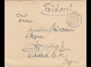 Feldpost Parow über Stralsund 1943 nach Dornsberg /Ansbach mit Briefinhalt, Kampfbeobachter Schule