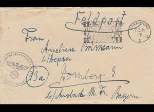 Feldpost Stralsund 1944 nach Dornsberg /Ansbach mit Briefinhalt, WHW 10 Jahre